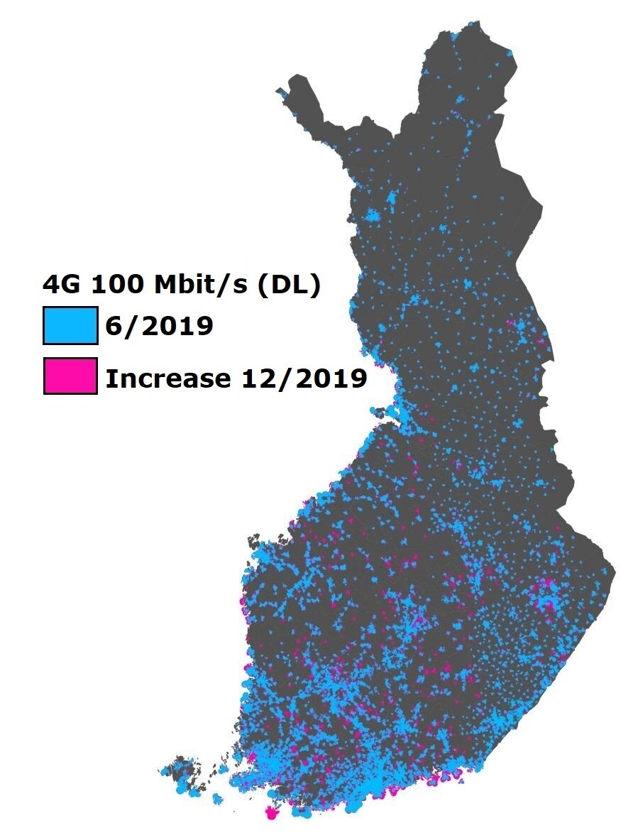A map of Finland. High-speed mobile network coverage (100 Mbps).