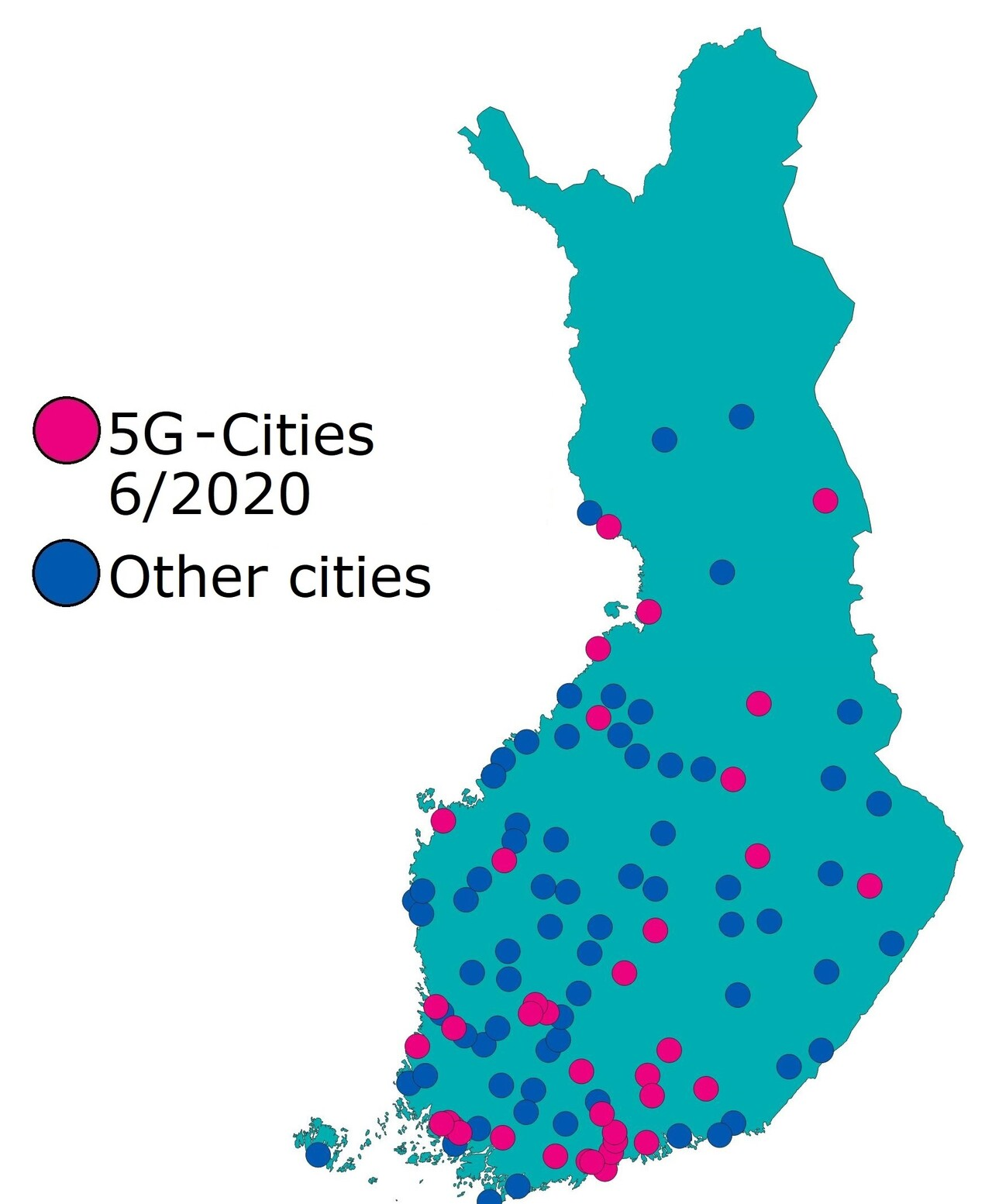 5G cities by the end of June 2020: There were 38 cities in Finland that had 5G networks by the end of June 2020 and 69 cities without 5G networks.